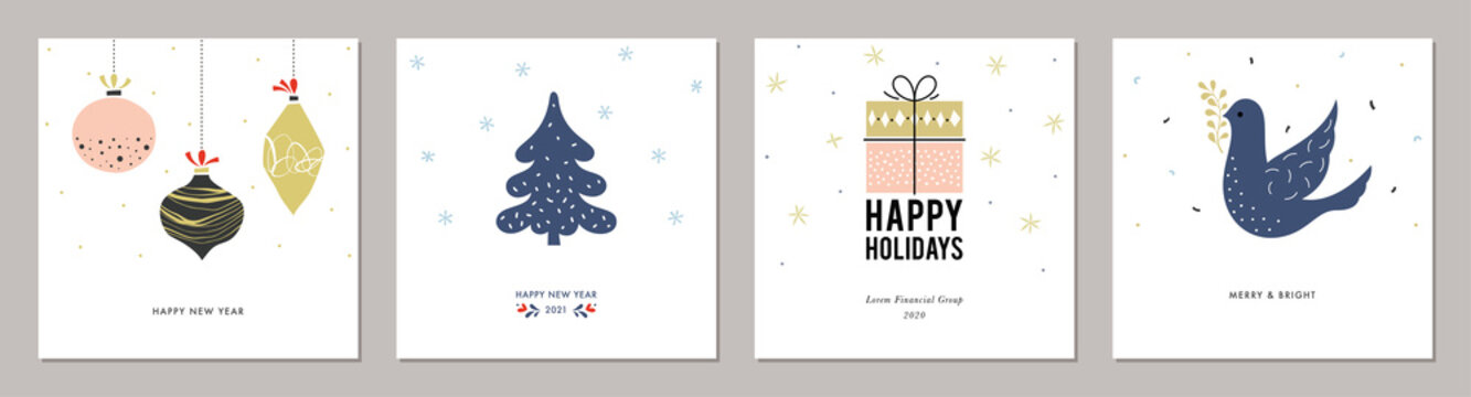 Merry Christmas greeting cards. Trendy square Winter Holidays art templates.
