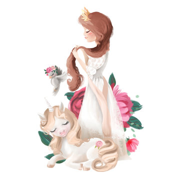 Beautiful princess girl in crown with long hair dreaming unicorn, bird and flowers, floral bouquet