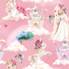 Cute girl, princess seamless, tileable pattern - princesses, unicorns, magic castle, birds and crowns on pink background