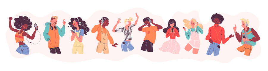 Young stylish people listening to music in headphones and earphones isolated. Multiethnic group. Boys and girls smiling, dancing, jumping, walking. Flat cartoon style. Vector illustration.
