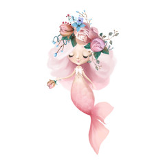 Cute and beautiful little mermaid with long hair and flowers watercolor illustration
