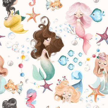 Cute and beautiful seamless pattern - little mermaids, fishes and flowers watercolor illustration