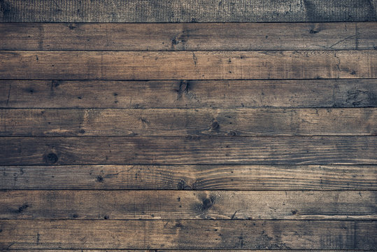 Dark Brown Wooden Background. Vintage Wood texture. Copy space