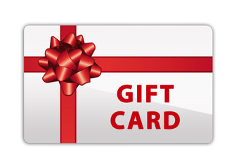 Gift card with red bow and ribbon. Merry christmas or happy anniversary present.