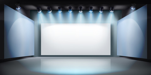 Show in art gallery. Projection screen on stage. Free space for advertising. Vector illustration.