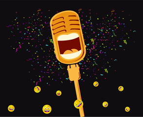 vector illustration of microphone mike laughing, funny speech, stand up comedy