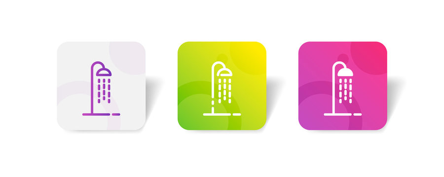 shower pipe outline and solid icon in smooth gradient background button