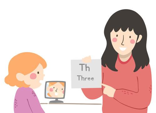 Kid Girl Speech Therapy Illustration
