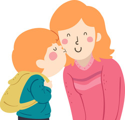 Kid Boy Kiss Mom Cheek Illustration