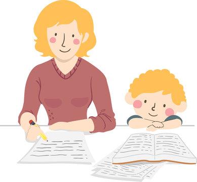 Kid Boy Mother Make Homework Illustration