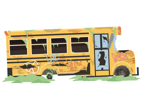 Abandoned School Bus Illustration