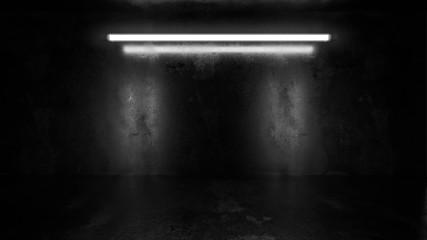 In de dag Licht, schaduw dark underground industrial grunge basement room with white low key light background texture wall 3d render illustration