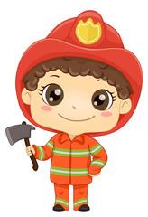 Kid Boy Fireman Ax Illustration
