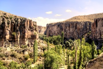 Panoramic view on Ihlara Valley in Cappadocia