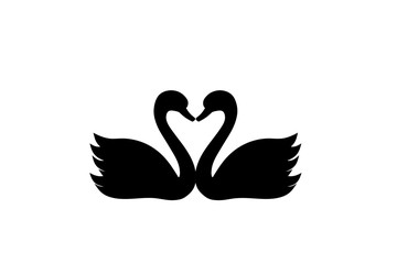 Two swans with heart silhouette icon. Clipart image isolated on white background