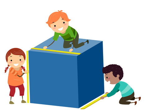 Stickman Kids Measure Cube Height Width Length