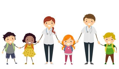 Stickman Kids School Nurses Illustration