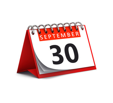 3D rendering of red desk paper autumn month of September 30 date - calendar page isolated on whit