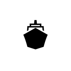 Ship front view black icon. Clipart image isolated on white background