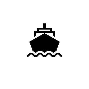 Cruise ship front black icon. Clipart image isolated on white background