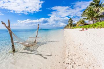 beach on tropical island, Morne Brabant, Mauritius  Fototapete