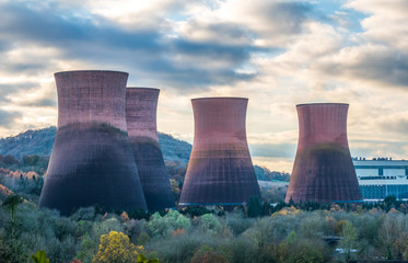 Cooling Towers at Ironbridge on the banks of the River Severn, due to be demolished soon.  Wall mural