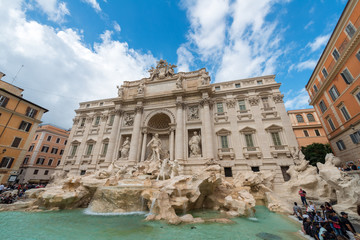 Poster Rome Rome, Italy - October 07, 2018: The Trevi Fountain standing 26 meters high and 20 meters wide, it is the largest Baroque fountain in the city. Fountain di Trevi surronded by hundreds of tourists