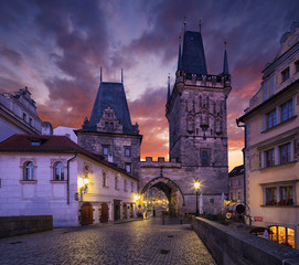 Wall Mural - Mala Strana Bridge Tower. Charles Bridge in Prague, Czech Republic.