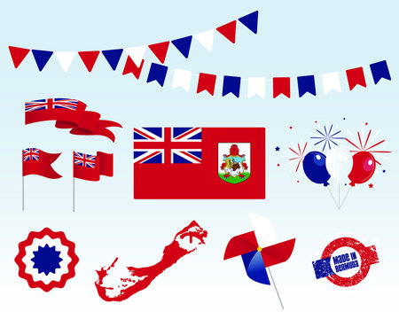 National holiday. Independence Day of Bermuda set of vector design elements, Made in Bermuda. Map, flags, ribbons, turntables, sockets. Vector symbolism, set for your infographics.
