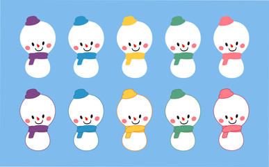 set of cute baby snowman vector character