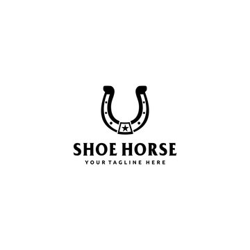 Shoe horse logo design for star for country,western,cowboy,ranch simple vector inspiration