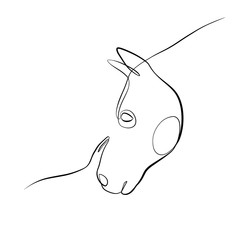 Foto auf AluDibond One Line Art Abstract, minimalistic, line art horse and woman figure. Hand drawn, one line, printable, wall art illustration.