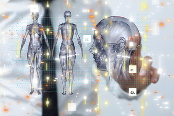 medical network connection with modern virtual screen, medical technology network concept.