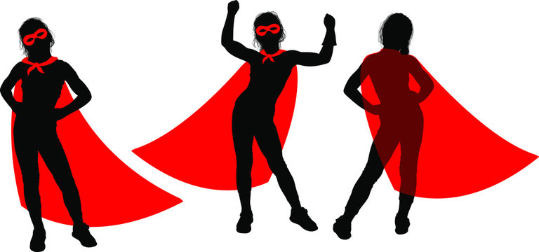 Black Silhouette of a strong superhero supergirl in a fluttering red cloak on a white background