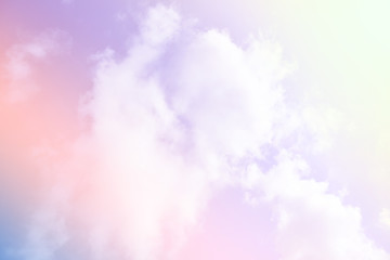 Bright sky and cloud colorful pink and blue pastel tone color.