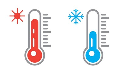 Thermometer icon or temperature symbol. Hot and cold weather
