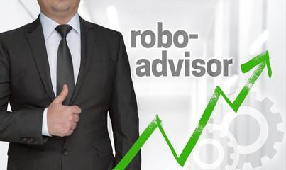 Robo Advisor Konzept und Geschäftsmann mit Daumen hoch.