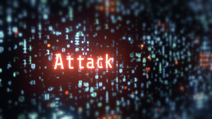 3D Rendering of wording attack in glowing red color with blur binary background. Concept of  business security. Corporate, large scale organization control to protect customer data. Hacker, virus. Wall mural