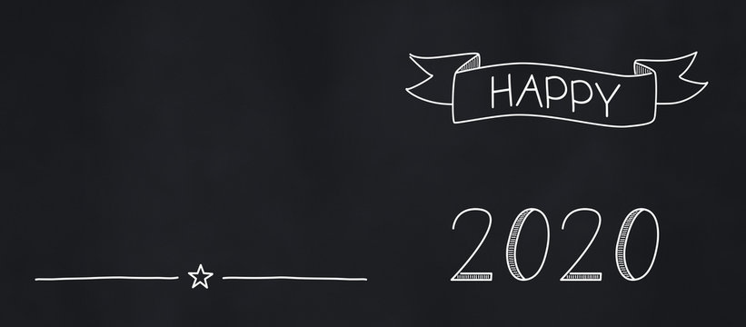 hand drawn happy 2020 chalkboard banner