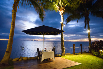 Romantic dinner setup at Fiji