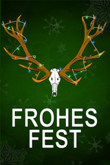 Merry Christmas (in german Frohes Fest) funny gag Deer trophy cartoon gift ugly sweater