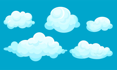 Blue sky with white clouds. Vector illustration.