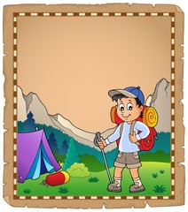 Poster Voor kinderen Parchment with travel theme 9