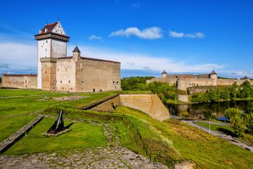 Narva castle, Estonia, overlooking russian estonian border