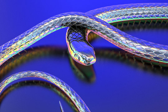 isolated Snakes abstract Iridescent and Holographic