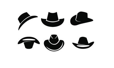 set of black Cowboy hat logo icon design vector illustration