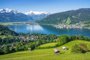 Wall Murals Alps Panoramic view of beautiful scenery in the Alps with clear lake, green meadow, blooming flowers, traditional alpine chalets on a sunny day with blue sky in spring, Zell am See, Salzburger Land, Austri