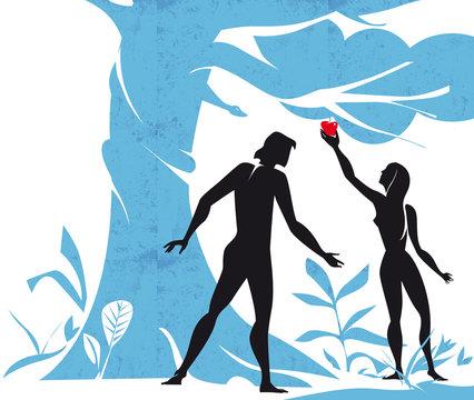 Adam and Eve in the Eden garden with the forbidden fruit