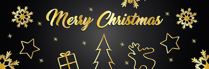 Christmas greetings with the message Merry Christmas and Christmas symbols in gold