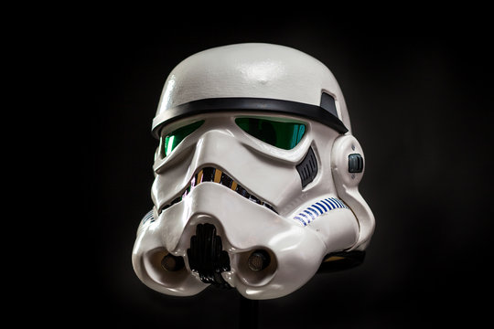 SAN BENEDETTO DEL TRONTO, ITALY. NOVEMBER 11, 2017. Studio portrait  of stormtrooper costume replica helmet. He is a fictional character of Star Wars saga. Black background